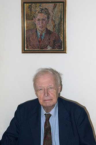 Maciej Morawski, 2015 r. Na ścianie jego portret namalowany w 1953 r. przez Józefa Czapskiego