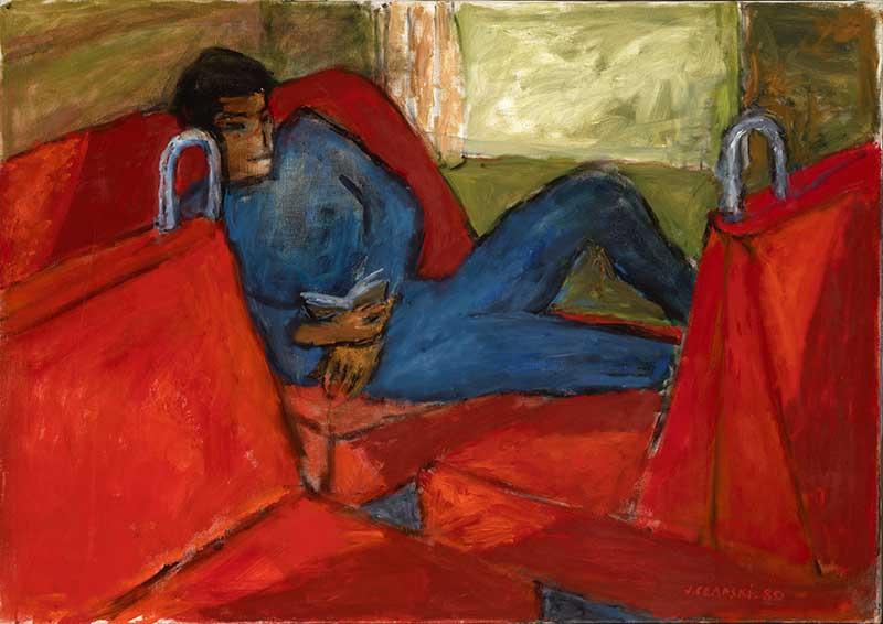 Józef Czapski,   Jeune homme sur fond rouge