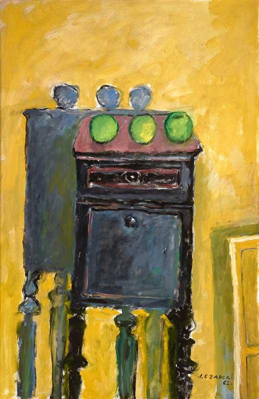 Trois pommes vertes [Trzy zielone jabłka], 1982, olej na płótnie, 100 x 65 cm