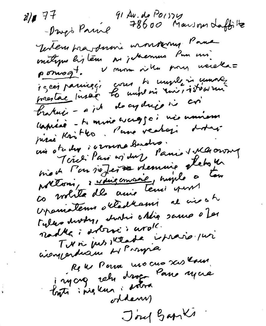List Józefa Czapskiego do Marka Szypulskiego, rok 1977