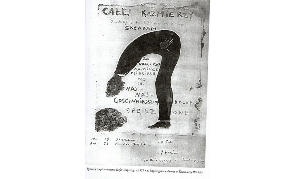 czarno biały rysunek józefa czapskiego z księgi gości