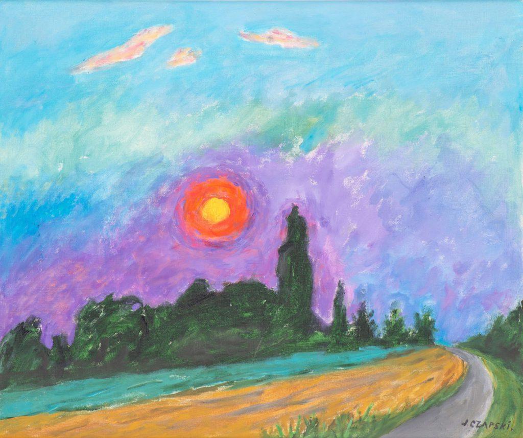 Obraz kolorowy ukazujący zachód słońca, autor Józef Czapski