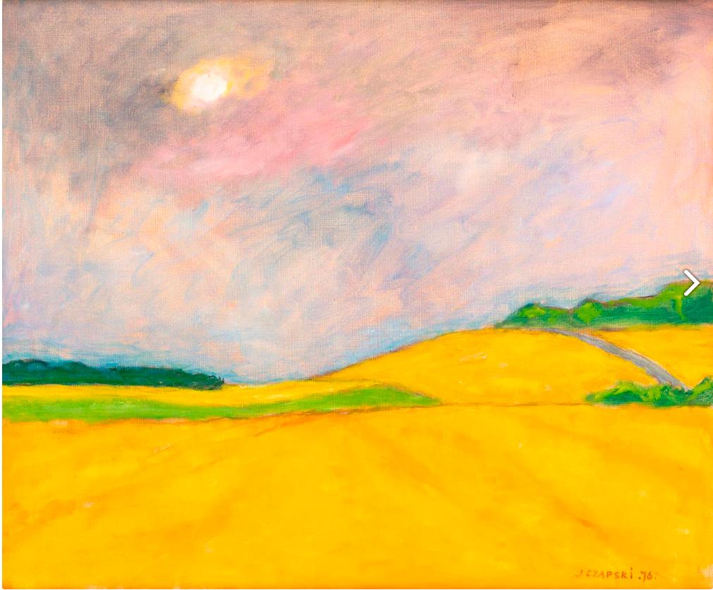 Obraz na nim żółte pola i słońce, autorem jest Józef Czapski