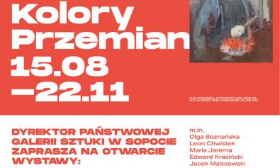 zaproszenie na wystawę, w kolorze biało czerwonym,obraz Boznańskiej