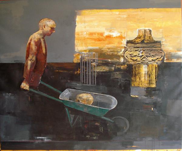 kolorowy obraz, człowiek wiozący czaszkę na taczkach