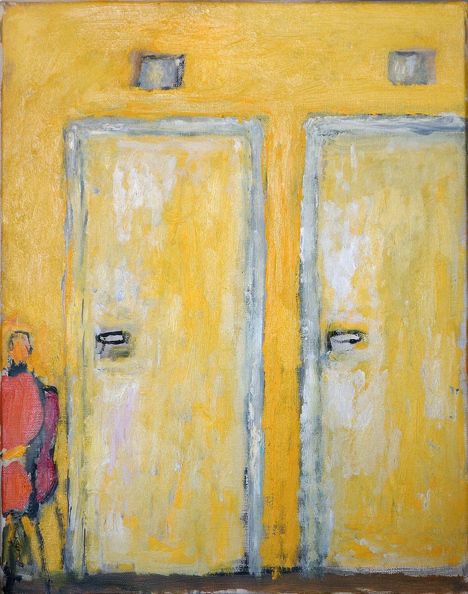 dwoje drzwi i postać siedząca pzy nich, zółte barwy, postać w czerwieni