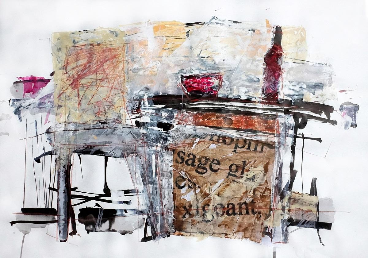 Martwa natura kolorowa, na stole butelka i kieliszek
