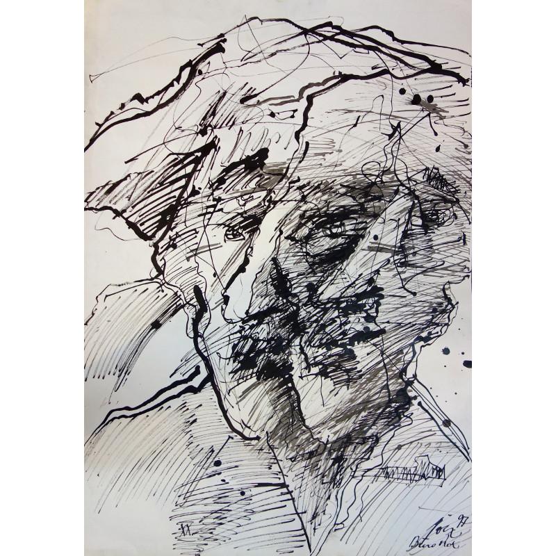 Portret tuszem namalowany przez Pawła Jocza