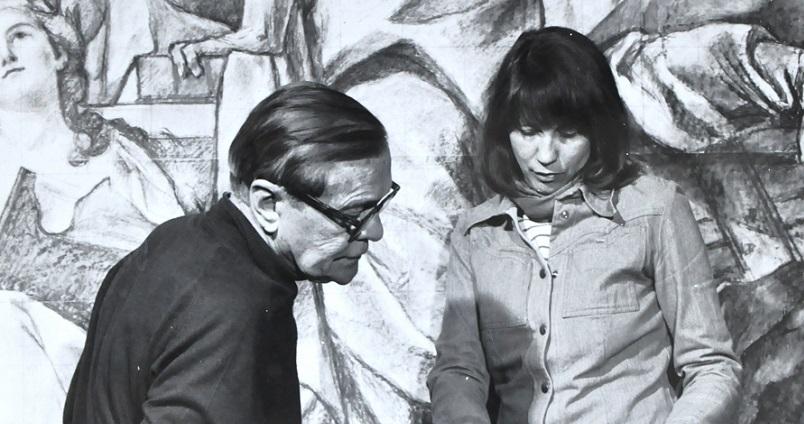Czarno białe zdjęcie na nim Strzałecki i jego żona Brzozowska